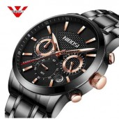 https://www.himelshop.com/NIBOSI  Wristwatch Mens Multi Function Luminous All Stainless Steel Black Watch