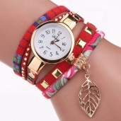 https://www.himelshop.com/DUOYA Ladies Bracelet Watch Leaf Fabric Retro Style Quartz Watche