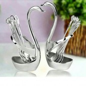 https://www.himelshop.com/Spoon Set With Swan Stand- Silver